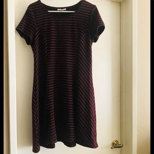 Maroon/White striped dress
